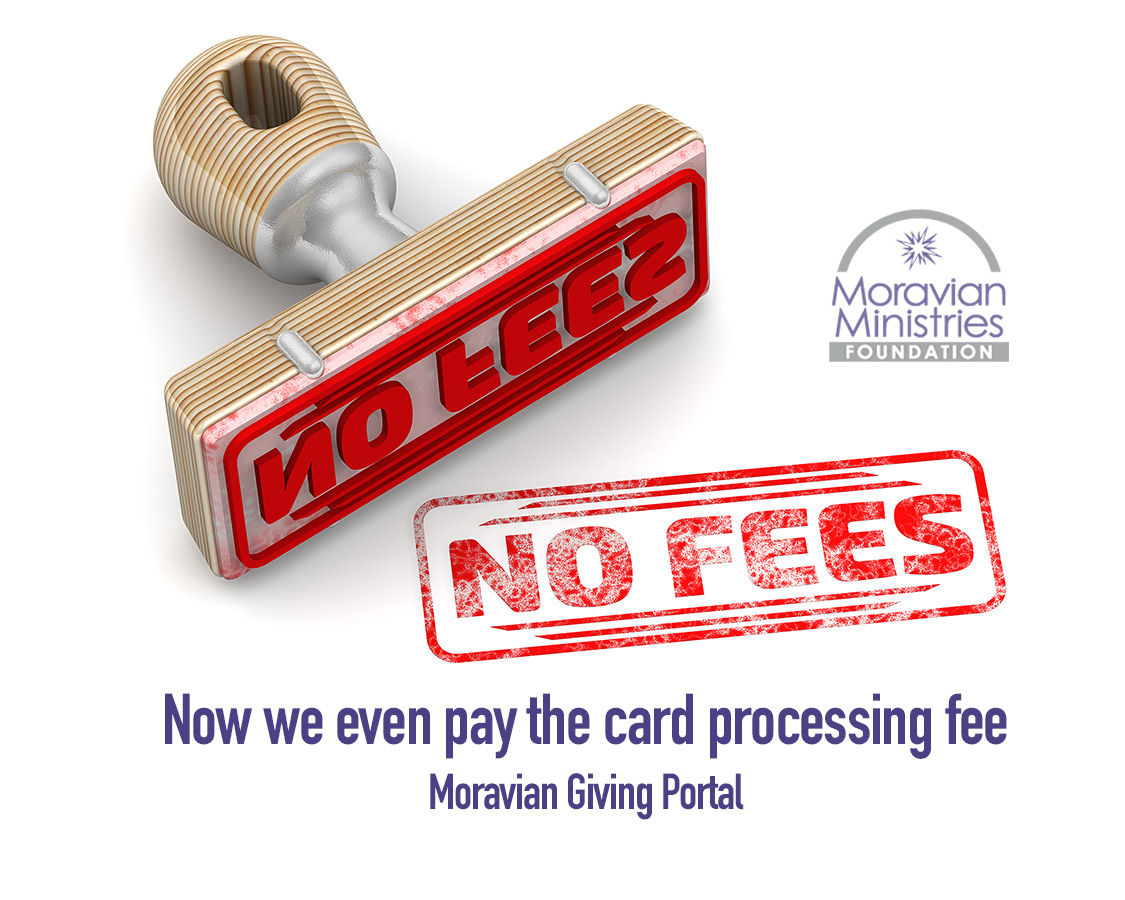 """Stamp with """"No fees"""" Moravian Giving Portal"""